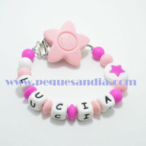 Chupetero de silicona en tonos rosas y morado Pequesandia