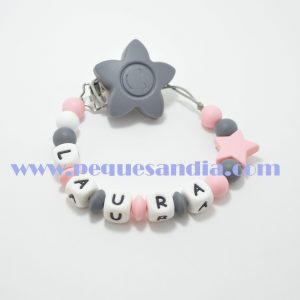 Chupetero de silicona en tonos grises y rosas Pequesandia