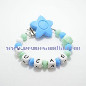 Chupetero de silicona en tonos azules Pequesandia