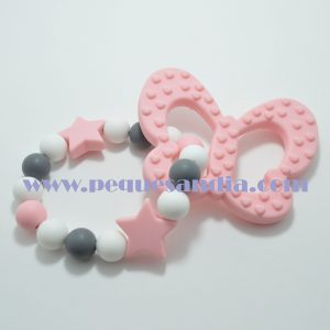 Mordedor de silicona en tonos rosas y grises Pequesandia
