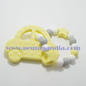 Mordedor de silicona en tonos grises y amarillo Pequesandia