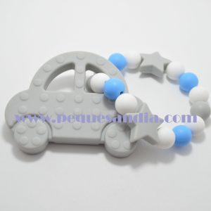 Mordedor de silicona en tonos grises y azul Pequesandia