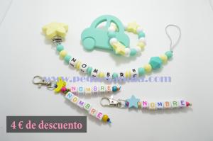 Pack 3 Pequesandia Chupetero + Modedor + 2 Llaveros