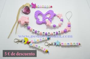 Pack 4 Pequesandia, Chupetero + Mordedor + 2 Llaveros + Ambientador